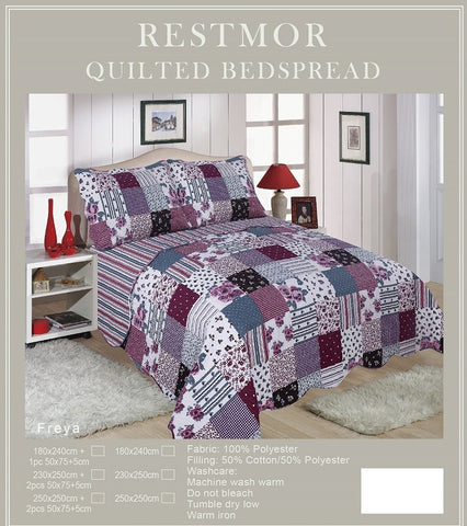 Freya Restmor Quilted Reversible Patchwork Design Bedspread in 3 sizes with free pillow sham/s