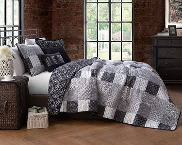 Jumana Restmor Quilted Reversible Patchwork Design Bedspread in 3 sizes with free pillow sham/s