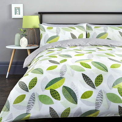 Tazio Easy Care Reversible Duvet Cover Bedding Set Grey, Spice or Green