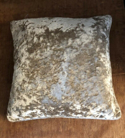 "CHAMPAGNE CRUSHED VELOUR FILLED CUSHION COVERS 45 X 45CM 18"" x 18"" with or without pads"