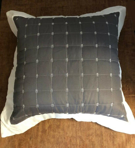 "Versailles Charcoal Grey/Cream Oxford Cushions 18"" x 18"" with or without pads"