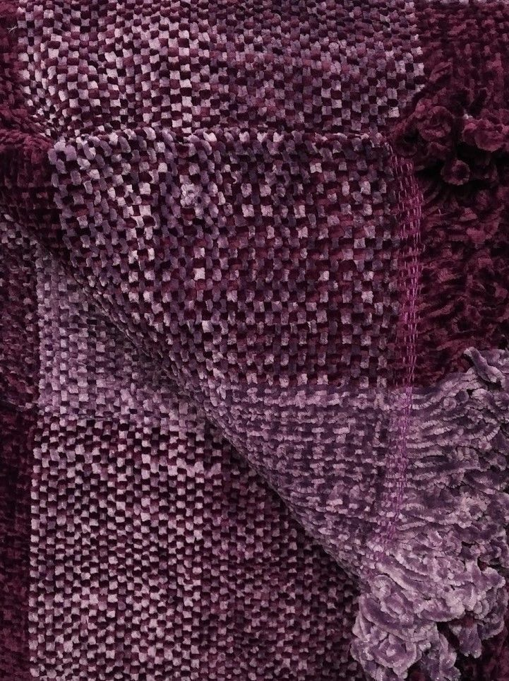 145 x 190cm ZARA AUBERGINE THROW CHENILLE CHECK PURPLE LILAC CHAIR SOFA BLANKET