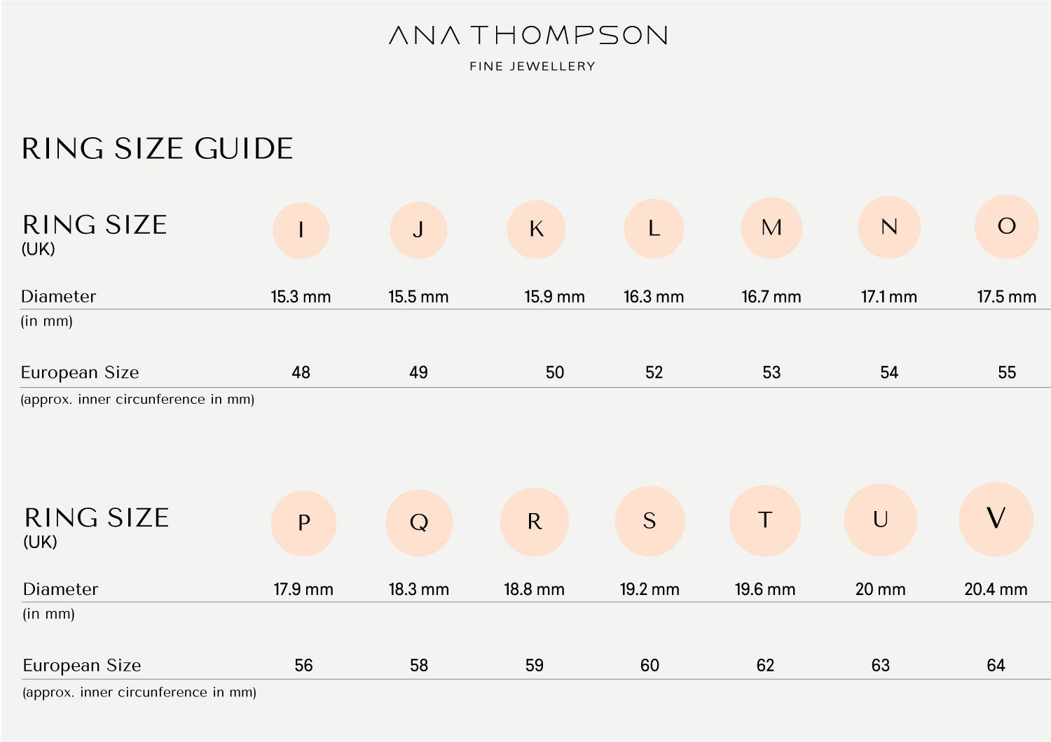 Ana Thompson Fine Jewellery Ring Size Guide