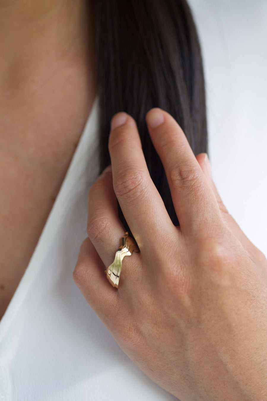 Recycled gold alternative bridal ring