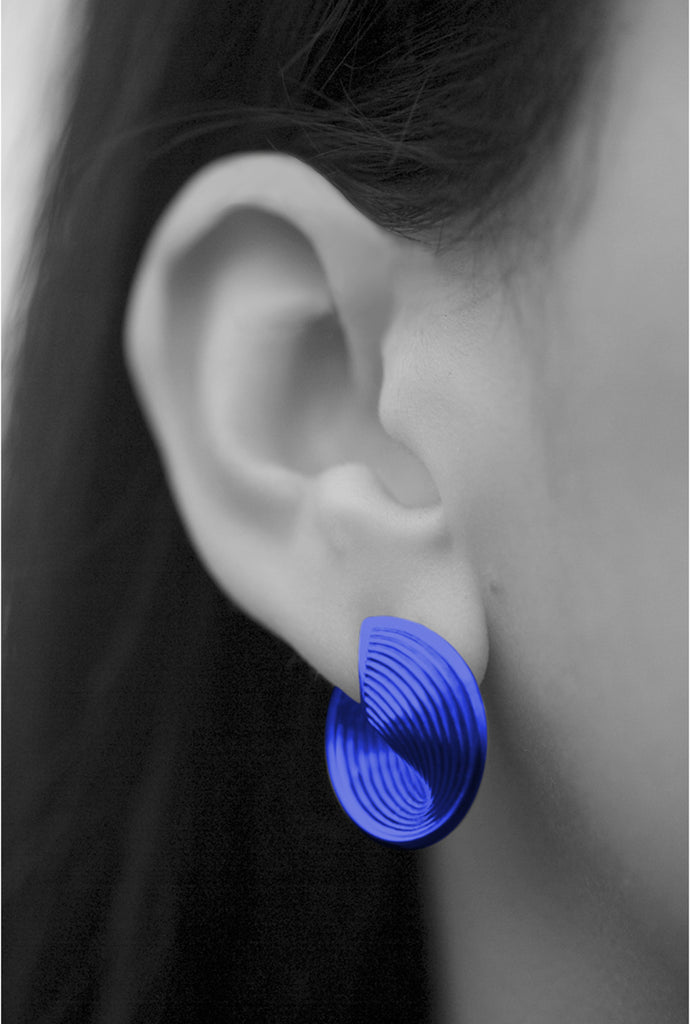 Statement blue earrings nano-ceramic coating