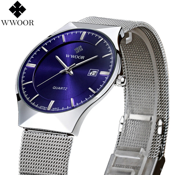 WWOOR Brand watches Stainless Steel Strap Ultra Thin