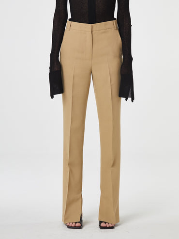 BEIGE OPEN SPLIT TROUSERS