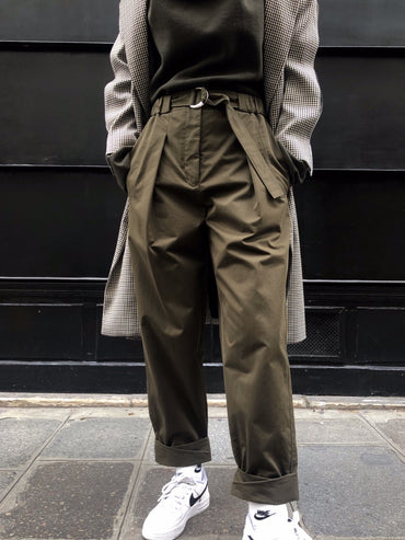 TWILL UTILITY BELTED PANTS W ROLLED CUFF