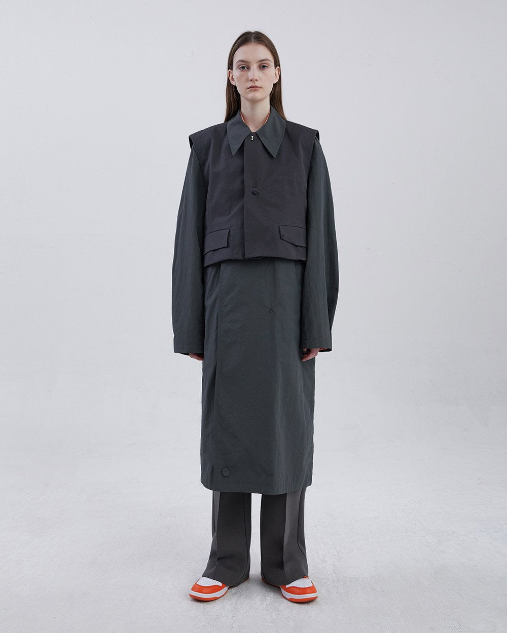 COMBINE TRENCH COAT CHARCOAL