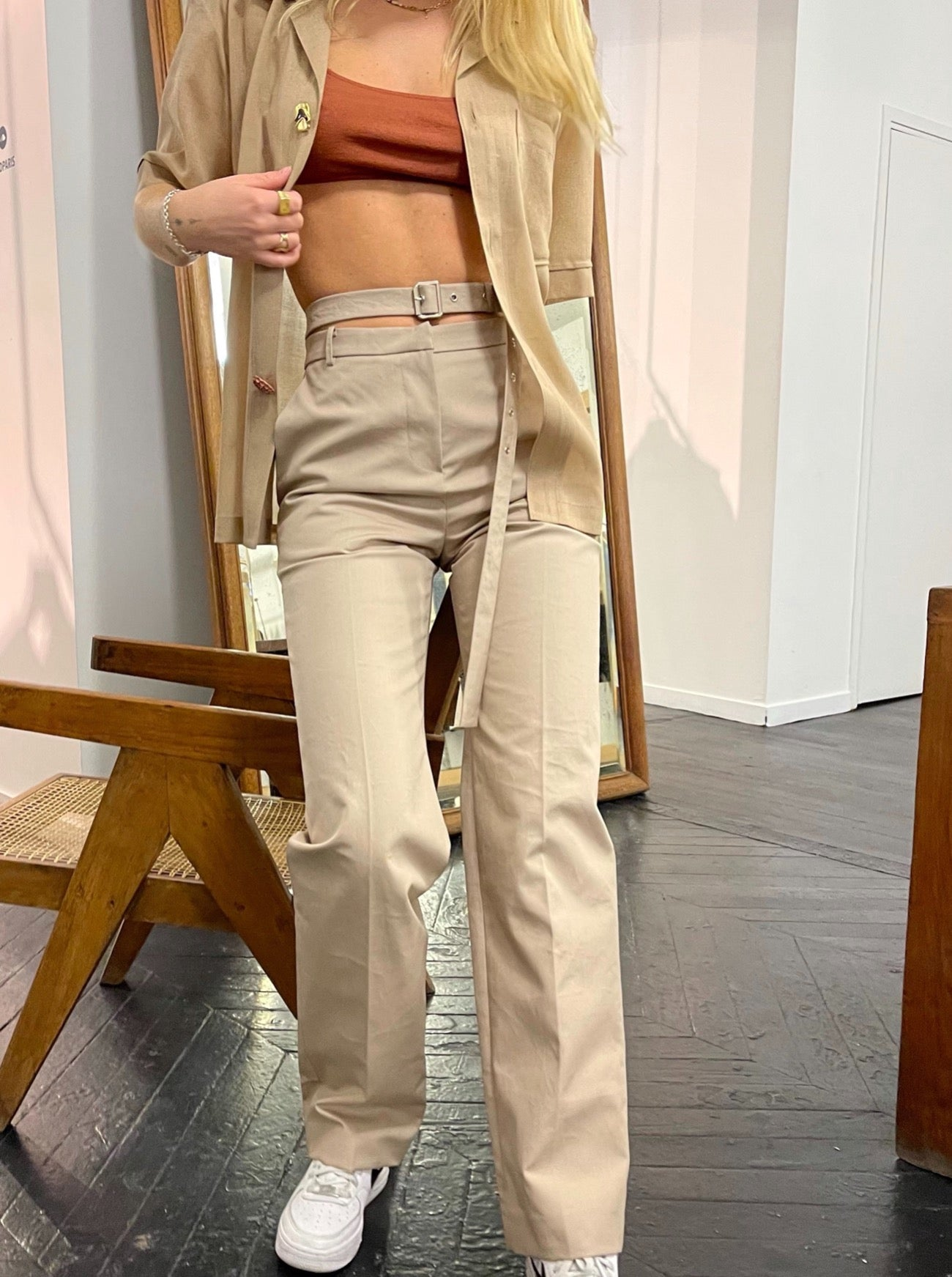 HIGH WAIST BELTED BEIGE TROUSERS
