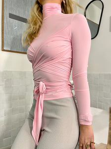 CROSSOVER WRAP PINK TOP