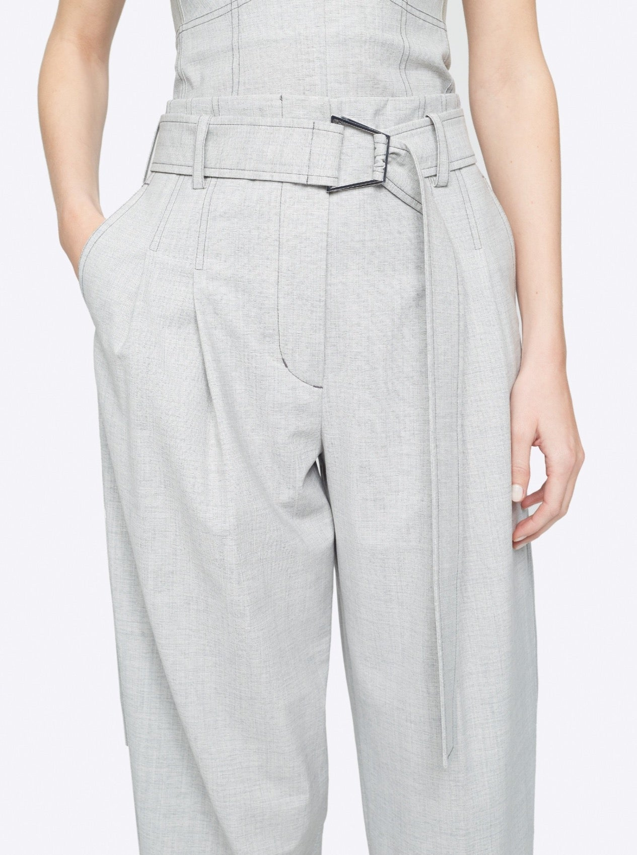WOOL CHAMBRAY BELTED UTILITY PANT