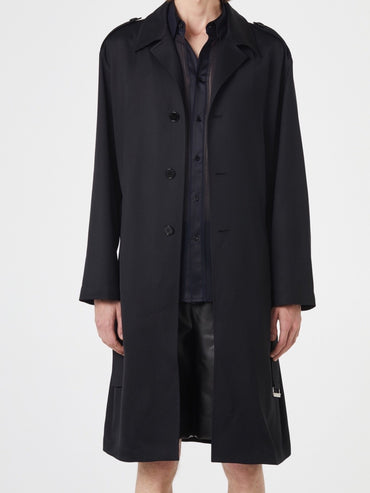 BLACK SINGLE TRENCH COAT
