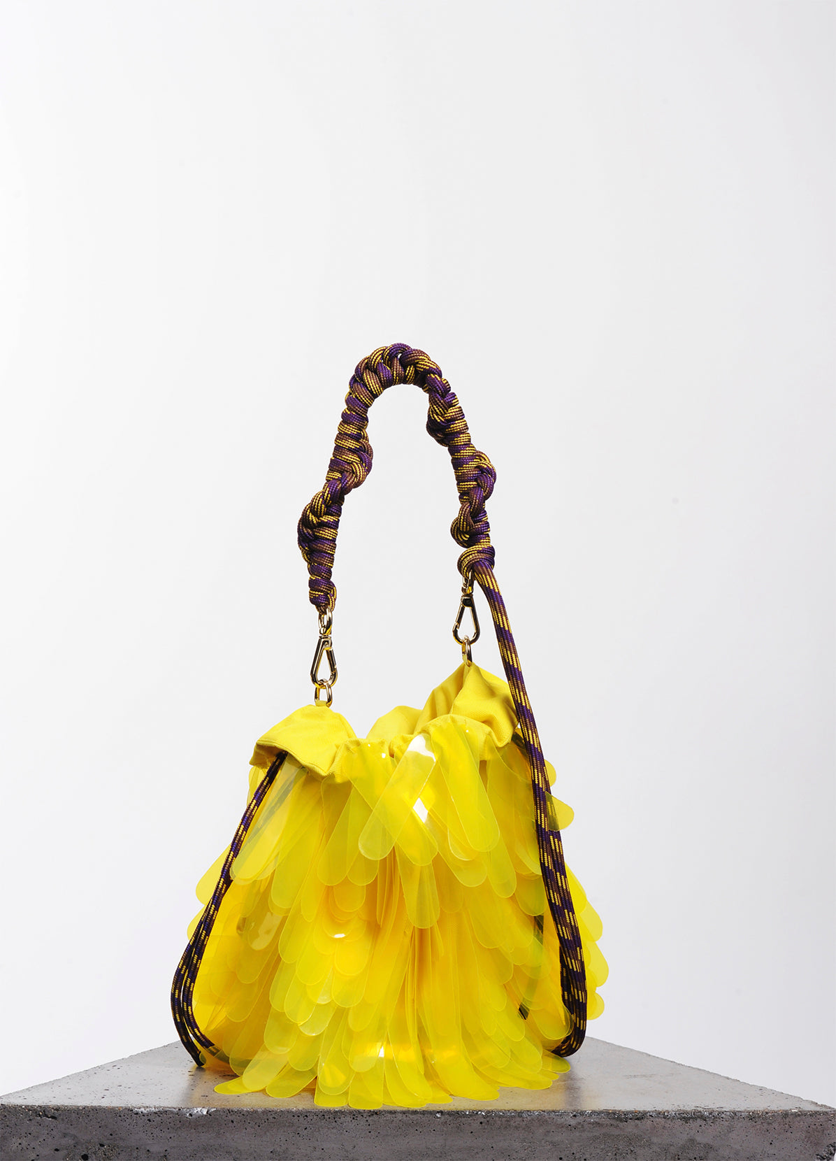 PAILLETTE EMBELLISHED ROPE HANDLE BAG