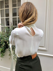 TAB SLEEVE MOCK NECK TOP