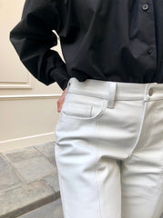 WHITE LEATHER 5 POCKETS