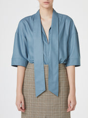 SMOKE BLUE BLOUSE WITH TIES