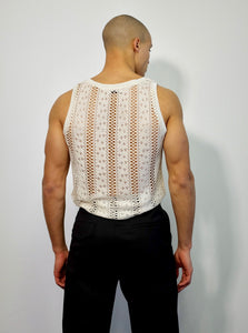 TANK KNITTED LACE VEST WHITE