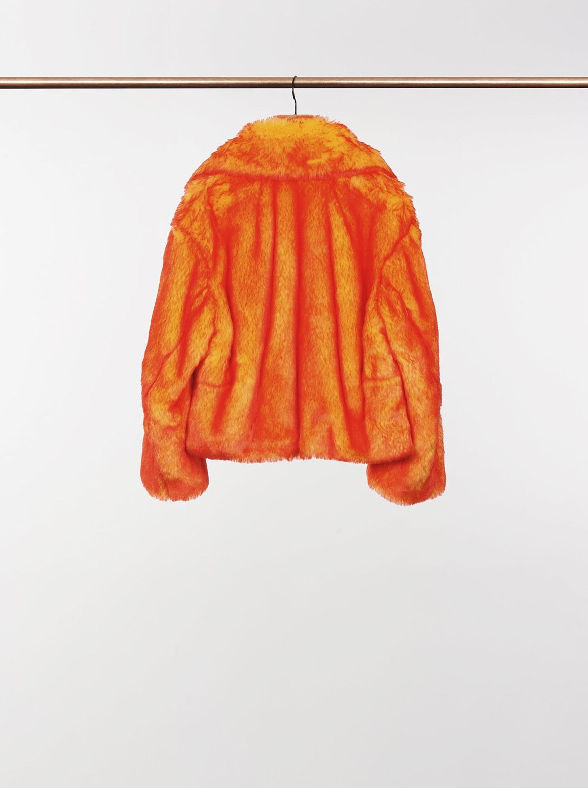 ORANGE CROPPED FAUX FUR JACKET