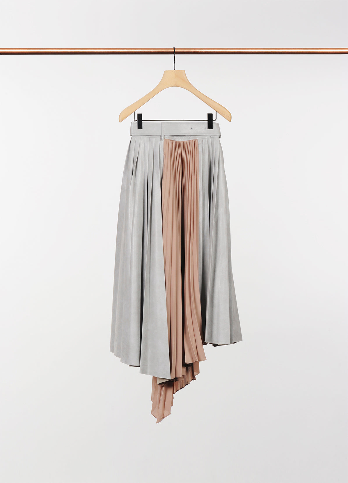 CHIFFON MIXED LEATHER SKIRT
