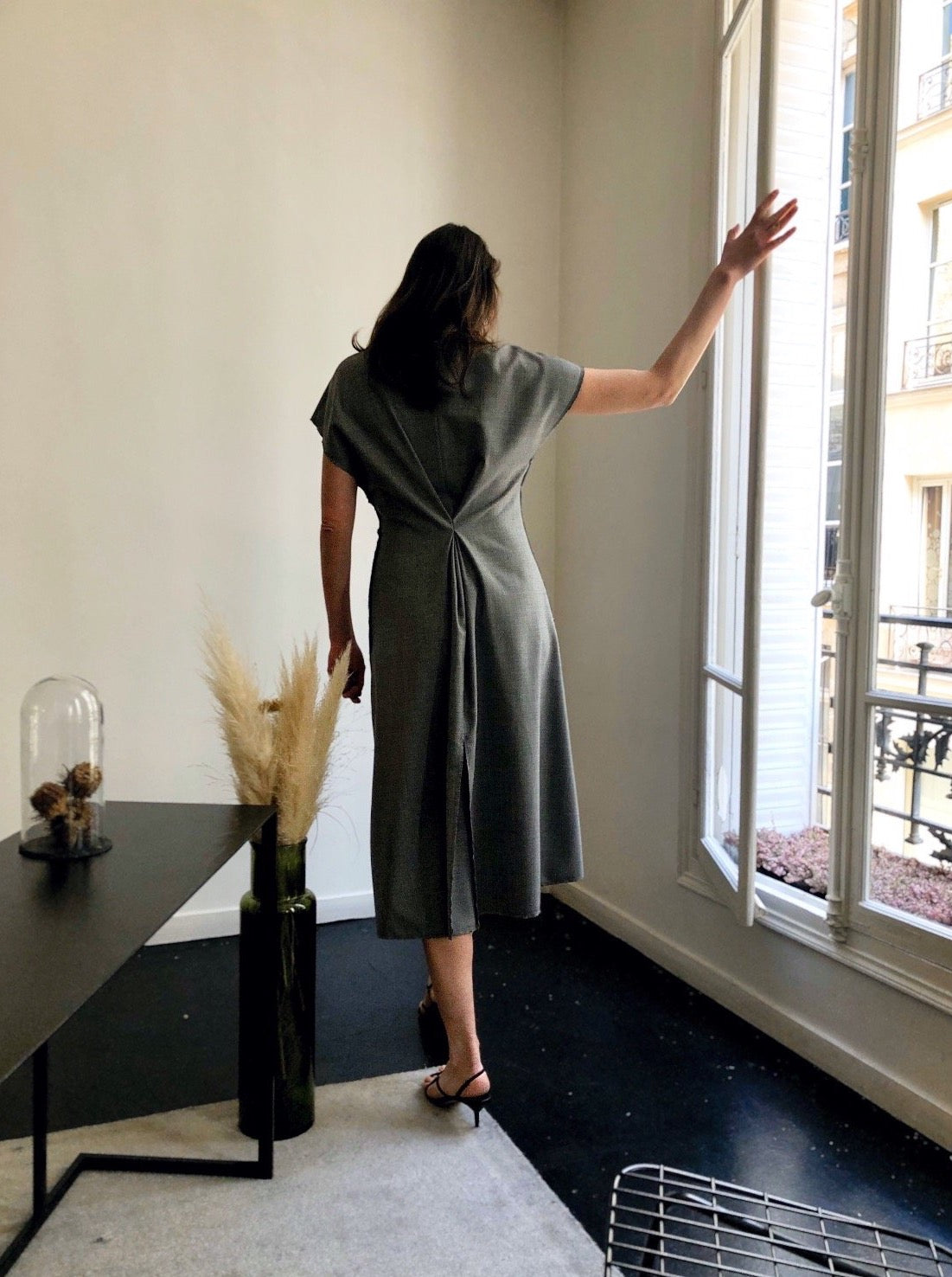 FRONT PLEAT DRESS