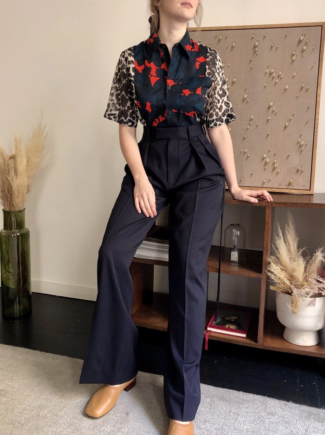 DOUBLE PLEATS TAILORED FLARE TROUSERS