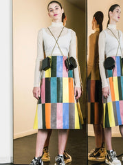 MULTICOLOR LEATHER SKIRT