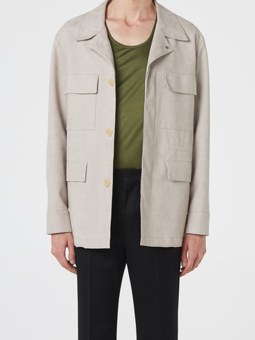 LIGHT BEIGE FAKE-SUEDE JACKET