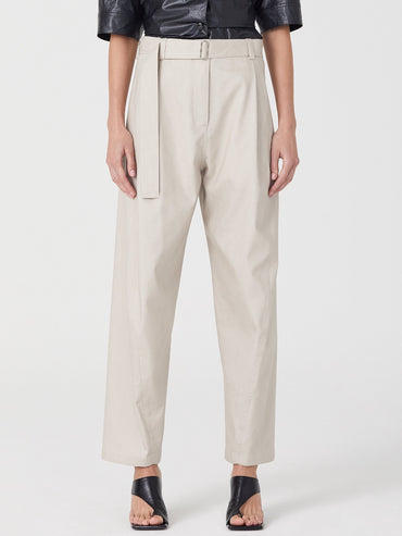 PALE BEIGE BELTED PANTS