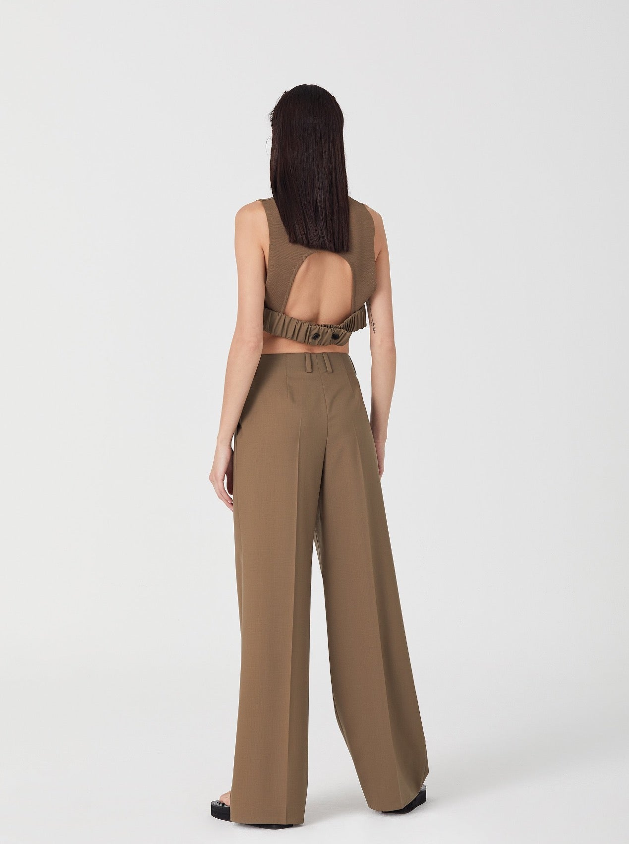 KHAKI BEIGE SL OPEN BACK TOP