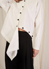 KNOT BUTTON ASYMMETRIC SHIRT
