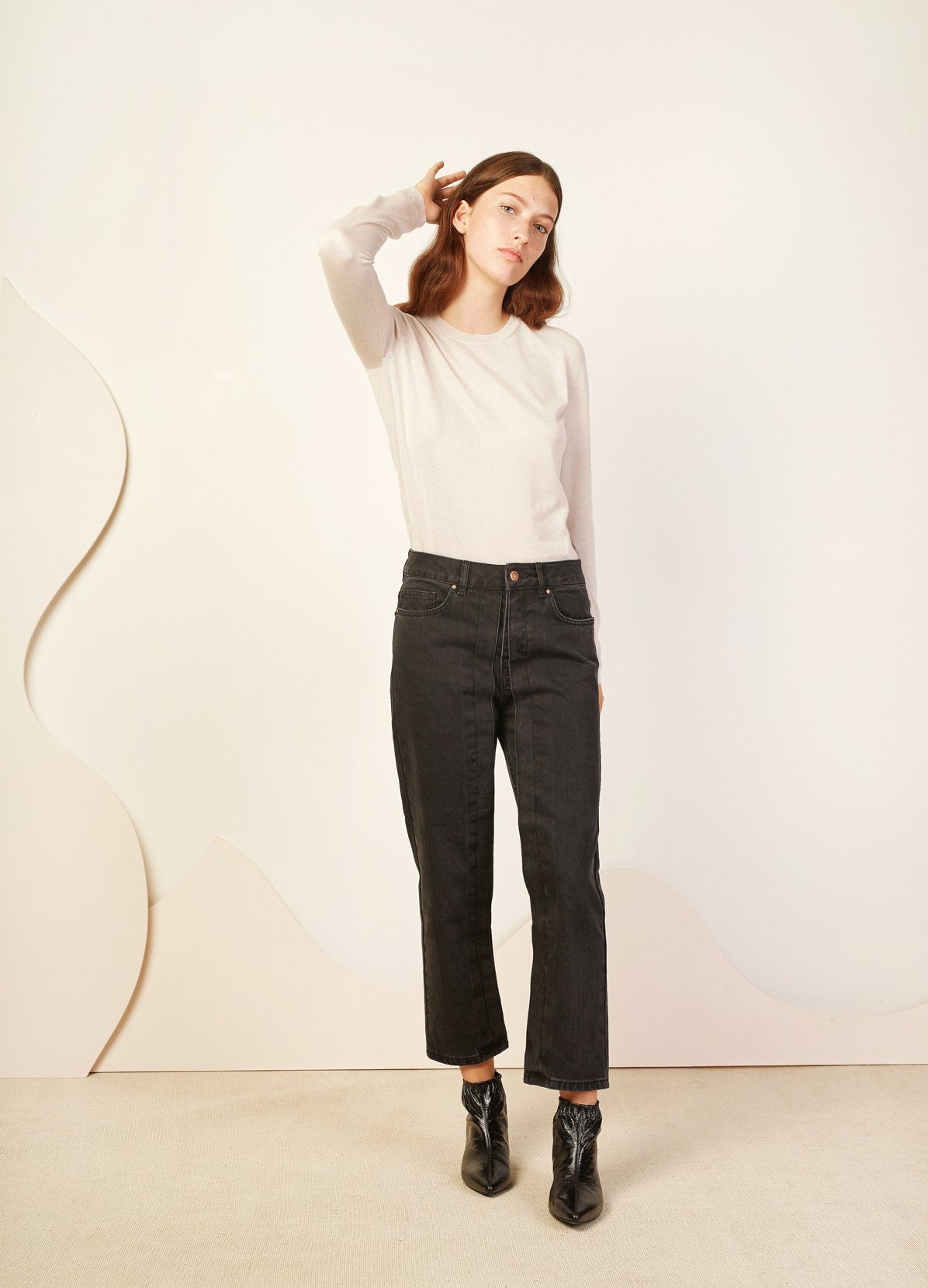 PLEATED CROPPED JEANS