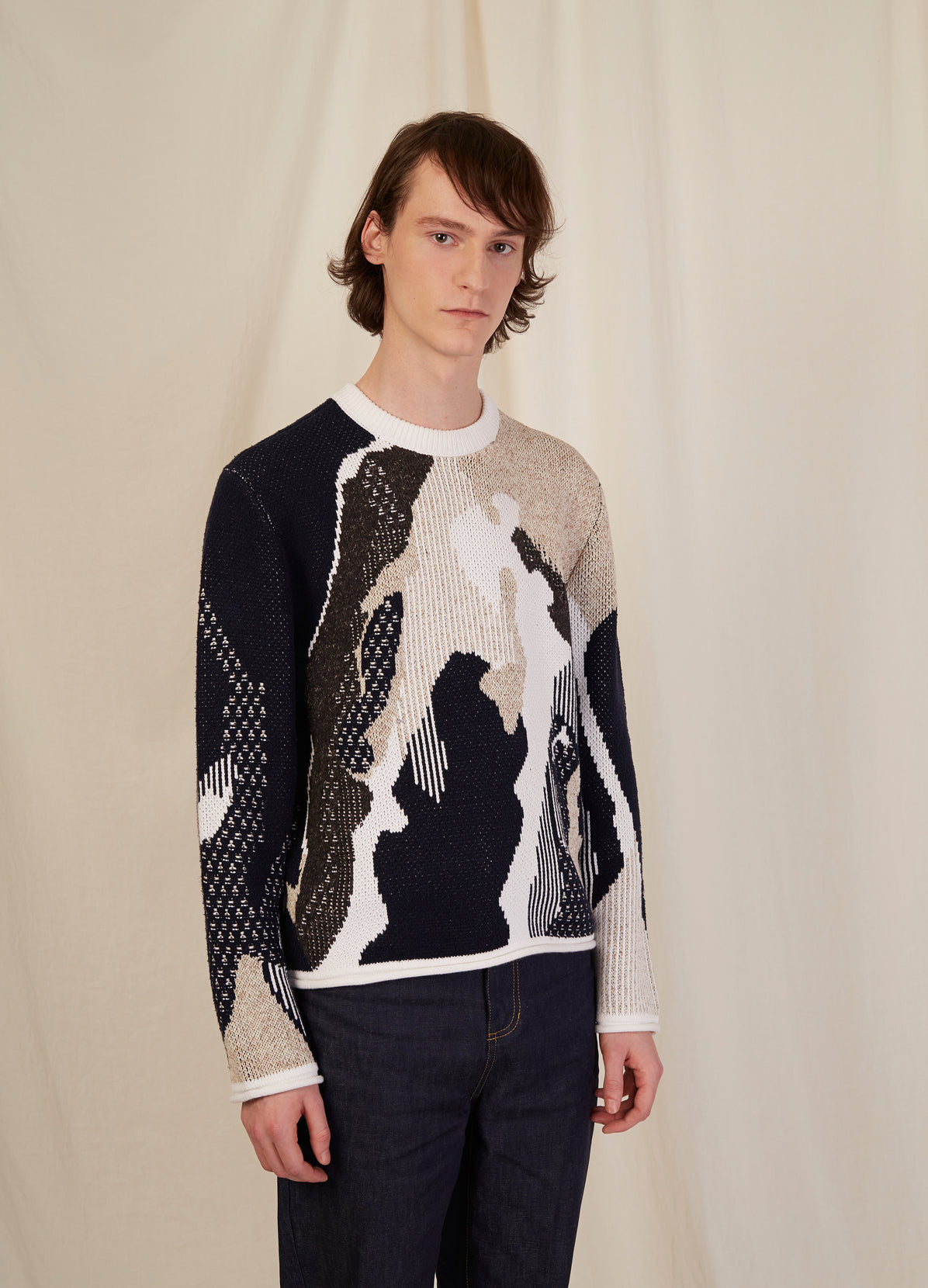 TEXTURED AERIAL JACQUARD PULLOVER