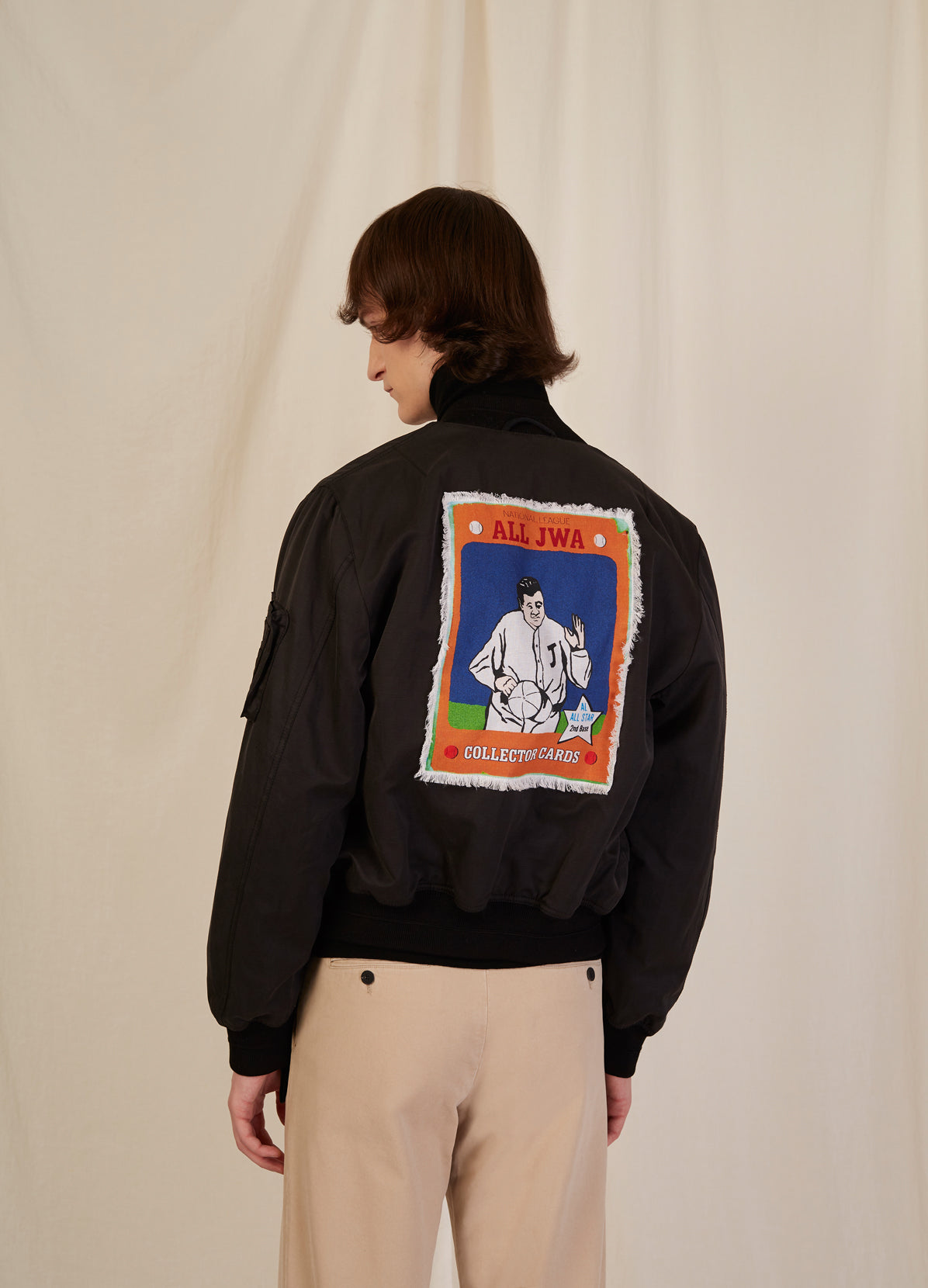 BOMBER JACKET WITH BASEBALL CARD PRINTED PANEL