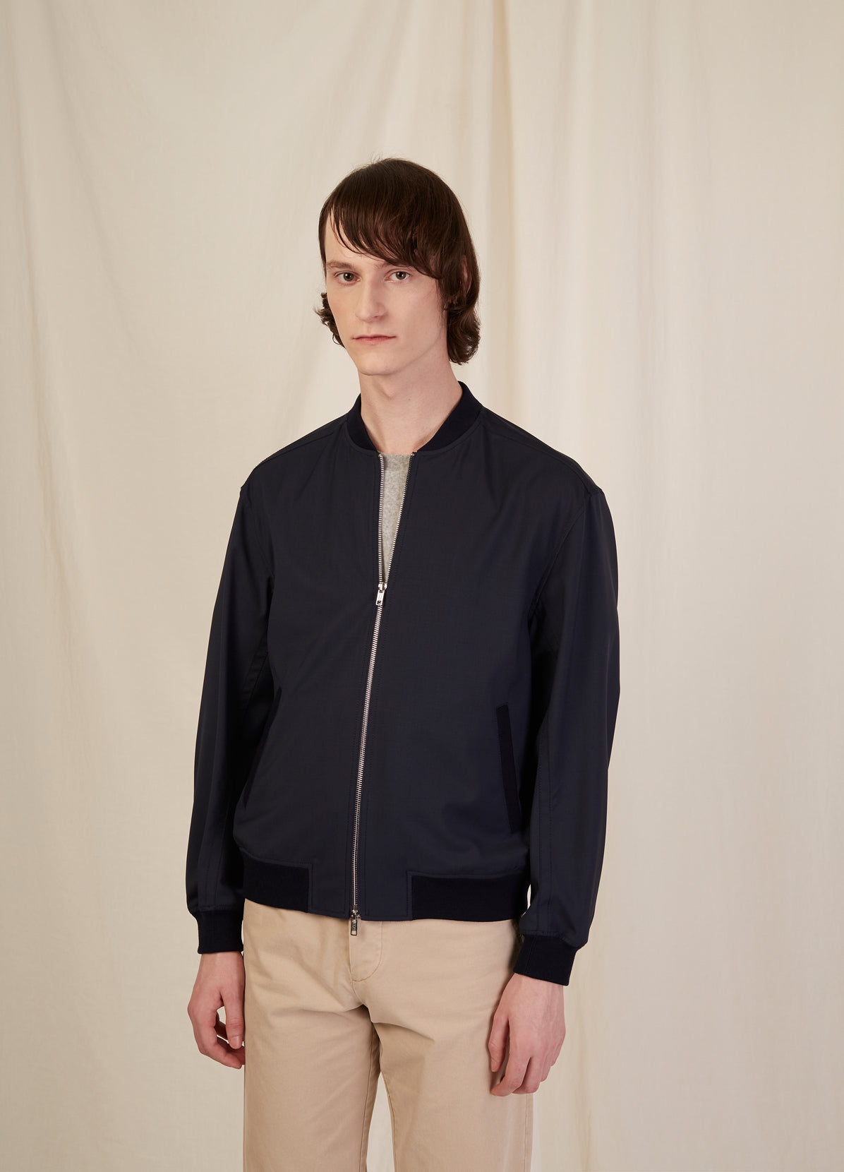 RELAXED BOMBER JACKET - WOOL SUITING