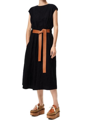 LEATHER BELT MIDI DRESS