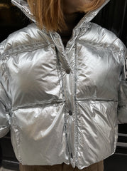 SILVER 3D CROPPED PUFFER