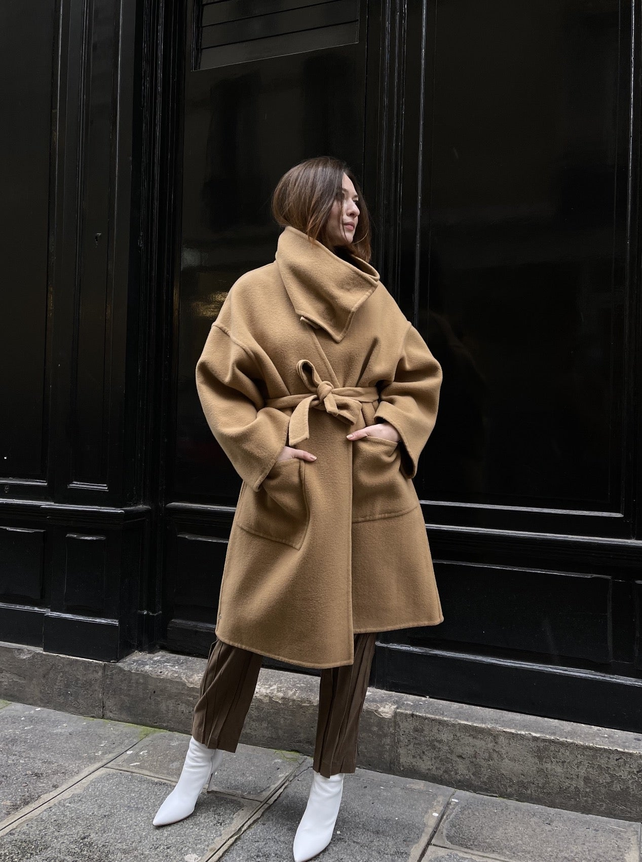 WRAP COAT WITH OVERSIZED COLLAR