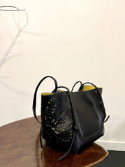 LASER-CUT LEATHER SHOPPER TOTE BAG BLACK