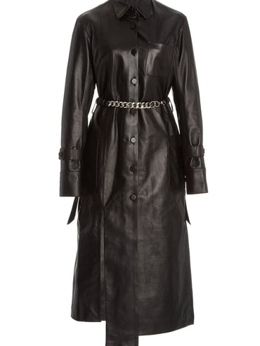 LEATHER PANEL DRESS WITH CHAIN DETAIL