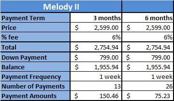 Melody II Water Ionizer Payment Plan