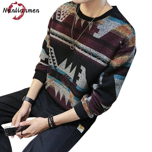 2017 Autumn New Striped Sweater Men Pull Homme Wool Cotton Knitted Mens Pullover Winter Coat Male Sweaters