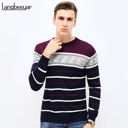 2017 New Autumn Brand Clothing Sweater Men Fashion Business Casual Slim Fit Winter Pullover Men Striped Tnhi Knitted Sweater Men