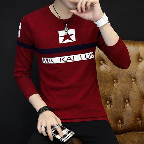 2017 New Autumn  Sweater Men Warm Clothing Male Sweaters Print Letter Casual Shirt Wool Pullover Men Pull O-Neck Pullover