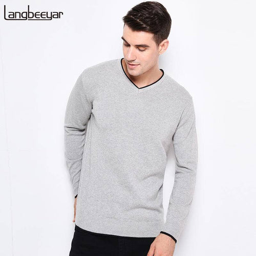 2017 New Autumn Winter Fashion Brand Clothing Pullover Mens Sweaters V-Neck Solid Color Slim Fit 100% Cottn Sweaters For Men