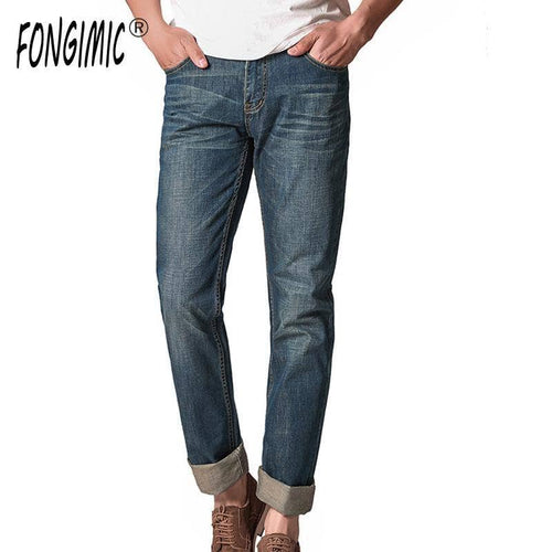 FONGIMIC Men Jeans High Quality Men Cotton Denim Trousers New Style Men Leisure Casual Straight Youth Popular Men Thin Pants
