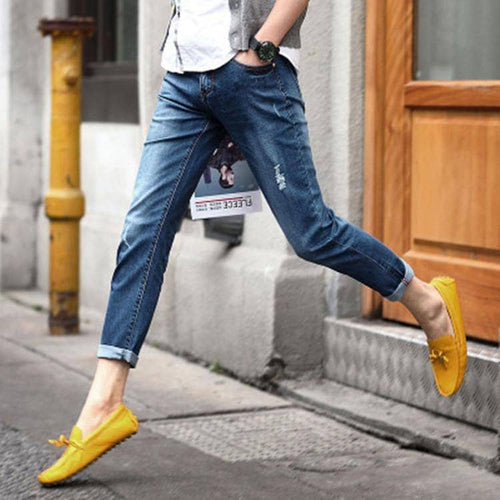 Fashion 2017 Summer Indoor Casual British Men jeans thin Ripped Hole Leg Ankle Length pants Stretch Denim Teenagers Jeans