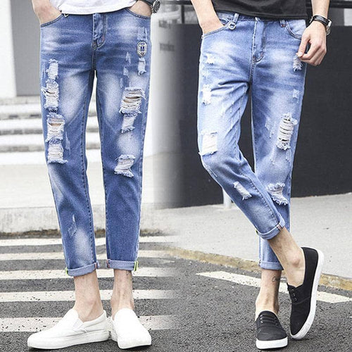 Fashion Men Jeans Washed Ripped Pants Casual Street Style Holes Denim Pencil Pants Long Trousers FS99