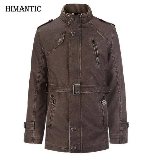 Leather Jacket Men Long Wool Stand Collar Coat jaqueta de couro Men's PU Leather Motocycle Jackets Overcoat Jackets Parka