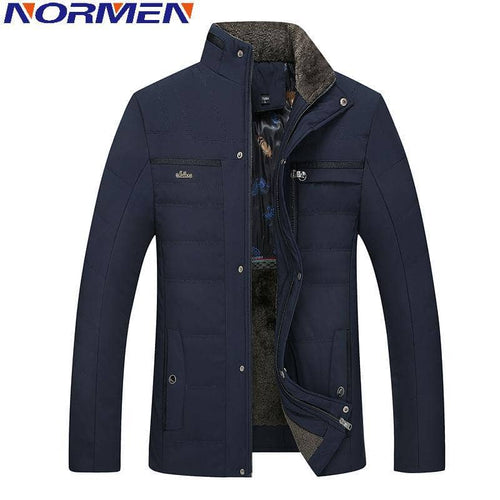 NORMEN 2017 New Arrival Winter Jacket Men Fleece Stand Collar Parkas Solid  Overcoat Casual Padded for Man